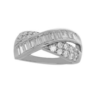HSN Victoria Wieck Absolute White Simulated Diamond Cross Over Ring 9