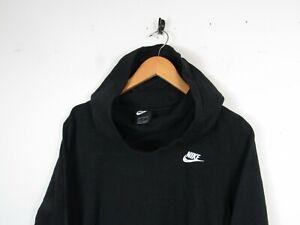 Nike Women Casual Black Solid Chest Logo Hoodie Hooded Sweatshirt Funnel Neck L