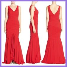 NWT JS Collections Banded Stretch Trumpet Gown V-Neck Red [SZ 6 ] #N225