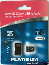 Platinum Micro SDHC 16 GB Class 6 Speicherkarte (inkl. USB-Adapter)