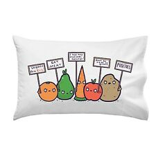 Protesting Vegans Funny Vegetables Protest Signs Against Vegans Pillow Case