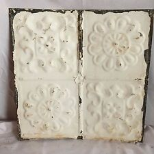 1890's 12 x 12 Antique Tin Ceiling Tile Metal Reclaimed White 145-17