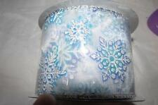 """15 ft Wired Edge Ribbon Christmas 2.5"""" New  Trimmerry blue glitter  snowflakes"""