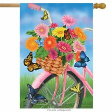 "Spring Bike House Flag Floral Butterfly 28"" x 40"" Briarwood Lane"