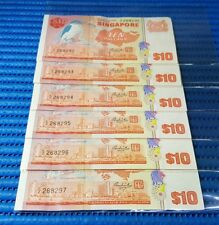 6X Singapore Bird Series $10 Note C/2 268292-268297 Run Dollar Note Currency
