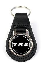 Triumph TR6 Blk Logo Quality Black Leather Keyring