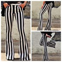 Womens Ladies Striped Slim High Waist Wide Leg Long Flared Bell Bottom Pants