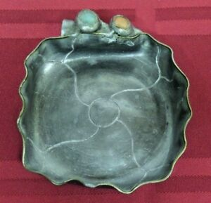 """Vintage Metal Shallow Trinket Dish Ring Dish Made in China Two Stones 3 1/2"""""""