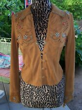$800~Rodeo Western Jeweled Turquoise studded Suede Leather Jacket~M~Jan Faulkner