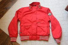 Vintage Womens Special Blend Red Rainbow Patch Ski Coat Jacket Size M Medium