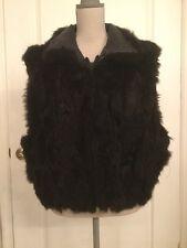 Andrew Marc genuine 100% New Zealand Black Opossum fur coat liner vest Sz L