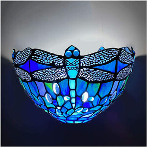 Tiffany Style Wall Lights Lamp, Vintage Blue Dragonfly Color Glass Sconce UK