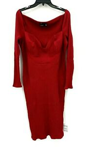 ASOS Curve Womens 16 Dress Burgundy Sweetheart Neckline Long Sleeve