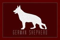 Dogs German Shepherd Large Breed German Dog GSD Silhouette Poster - 18x12