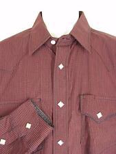 Panhandle Slim Western Shirt Mens L Diamond Pearl Snaps Burgundy Check Flaw