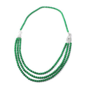 """925 Sterling Silver Green Dyed Jade White Zircon Necklace Gift Size 32"""" Ct 964.5"""