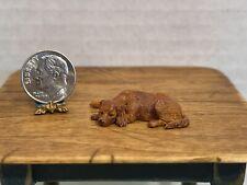 VTG Artist TR Metal Hand Sculpted/Painted Retriever Dog Dollhouse Miniature 1:24