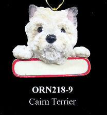 """White Cairn Terrier Ornament """"Santa's Pals"""" w/ Personalized Name Plate #9"""