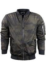 Mens Brave Soul Camo Jacket Coat Hooded Khaki Puffer Parka Bomber Padded