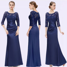 Ever-pretty Long 3/4 Lace Evening Gown Navy Blue Mother Of The Bride Dress 09882