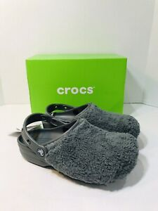 Crocs Classic Fuzz Mania Clog Women Size 6 Mens Size 4 NEW IN BOX Slate Grey