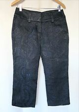 NWOT Blue/Black shimmering BEBE cropped pants, women's size 6