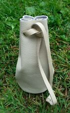 Real Cream Leather draw string pellet pouch. Purse. Bag.Bushcraft with belt loop
