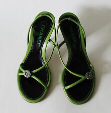 Auth Chanel Green Strappy Slides Rhinestone Mules Sandals Size 36.5