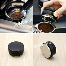 Black Smart Coffee Tamper 58mm Stainless Steel Flat Base Adjustable Grip Handle