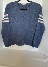 Knit Hoodie Heathered Blue w/Stripes on Long Sleeves Pink Rose Juniors.  Size M