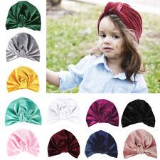 Newborn Toddler Baby Boy Girl Indian Turban Knot Soft Velvet Beanie Hat Cap New