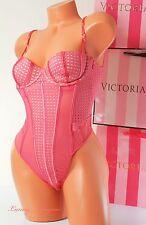 34C Victoria's Secret VS Lingerie VS Teddy Slip Bodysuit Lace Lined Push-up Pink