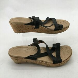 Crocs Strappy Slide Cork Wedge Heel Sandal Black Leather Strap Brown Womens 9