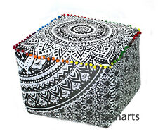"18"" Handmade Square Ottoman Pouf Cover Indian Mandala Decorative Footstool Cover"