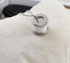 Men Women Gold Silver STAINLESS STEEL Ceramic Ring Pendant Necklace Gift Box P17