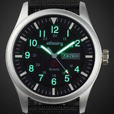 INFANTRY Mens Sport Quartz Wrist Watch Luminous Date Cool Military Black Nylon