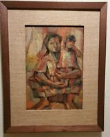 Miguel Galvez '63 Oil Painting Of Woman And Child Framed 16x20