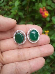 Natural 10x12 Green AGATE & White CZ Sterling 925 Silver EARRINGS Big Stone