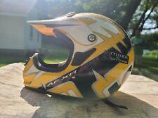 Vintage Arthur Fulmer AF-XR MOTORCYCLE DIRTBIKE Helmet Yellow Black Stickets