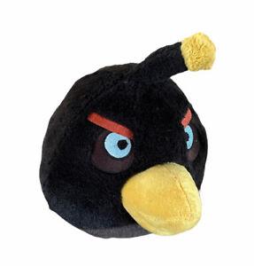 "Angry Birds Plush Black Bomb Bird 5"" Stuffed Toy 2010 Green Mark On Nose"