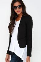 Women's Slim Fit Casual Short Crop Blazer Open Front Long Sleeve Career Jacket
