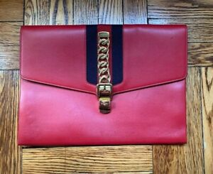 Gucci Sylvie Leather Maxi Clutch / Portfolio in Hibiscus Red Leather