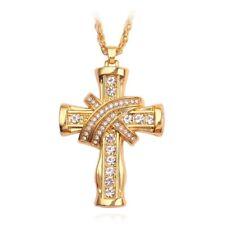 18K Gold Plated Hip Hop Men's Cross Pendant Fashion Man Necklace Tennis Chain US