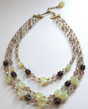 Vintage 1940s / 50s 3 Strand Vaseline Uranium Glass Bead Necklace