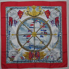 """Auth HERMES """"Vive le Vent"""" by Laurence Thioune Red Silk Scarf 4102"""