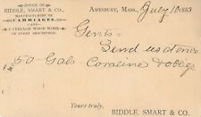 Biddle, Smart & Co, Manufacturer of Carriages, Amesbury, Massachusetts MA 1883
