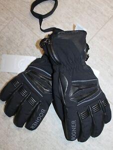 Bogner Herren Teil Leder Ski Handschuh HANO Schwarz Größe 8,5 Größe S M Neu