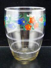 Konfitürenglas mit Emaillemalerei/Handgemalt. Rand geschliffen. H=13cm. D=9,5cm
