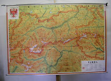 Belles anciennes écoles carte Tyrol Tyrol du Sud Innsbruck ~ 1960 235x162cm Vintage Map
