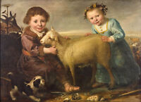 """perfect 36x24 oil painting handpainted on canvas""""Two children with a lamb""""@N5597"""